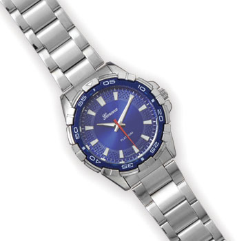 Silver Tone Men's Fashion Watch with Blue Face - DISCONTINUED