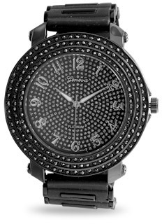 Black Silicone Mens Fashion Watch with Crystals