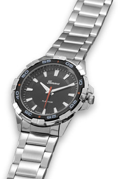 Brushed and Polished Silver Tone Mens Fashion Watch