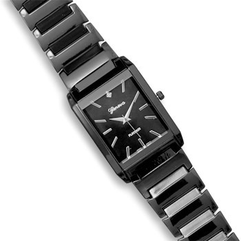 Black Metal Mens Fashion Watch with Clear Crystal Accent