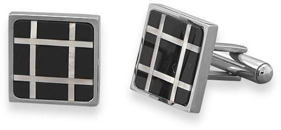 Stainless Steel Cuff Links with Black Onyx and Shell