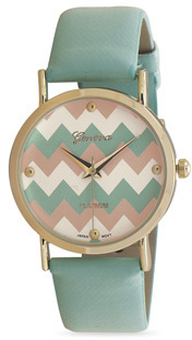Mint Green Chevron Print Fashion Watch