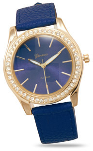 Navy Blue Leather Fashion Watch with Crystals