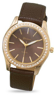 Brown Leather Fashion Watch with Clear Crystals