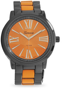 Orange and Gunmetal Tone Fashion Watch