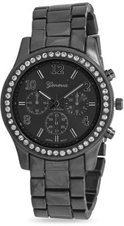 Gunmetal Tone Fashion Watch with Clear Crystals