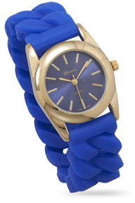 Blue Silicone Curb Style Stretch Watch