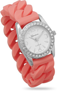 Pink Silicone Curb Style Stretch Watch - DISCONTINUED