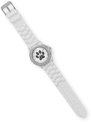 White Silicone Paw Print Fashion Watch