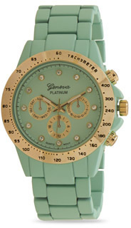 Mint Green Silicone Coated Metal Fashion Watch