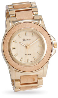 Natural Color Wood Fashion Watch with Gold Tone Accents