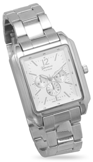 Silver Tone Fashion Watch with Rectangular Face