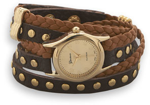 Tan and Brown Leather Fashion Wrap Watch