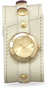 Cream Leather Fashion Watch with Gold Tone Accents