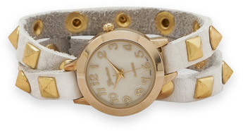White Leather Fashion Wrap Watch