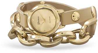 Leather Wrap Watch with Gold Tone Fashion Links
