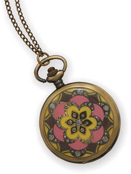 "31"" Pink and Yellow Fashion Necklace Watch"