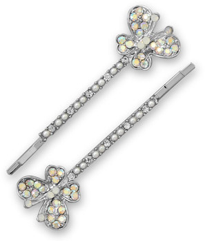 Set of Two Silver Tone Crystal Butterfly Fashion Hairpins