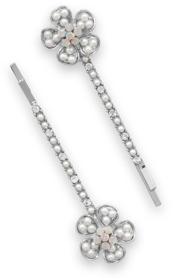Set of Two Silver Tone Floral Fashion Hairpins