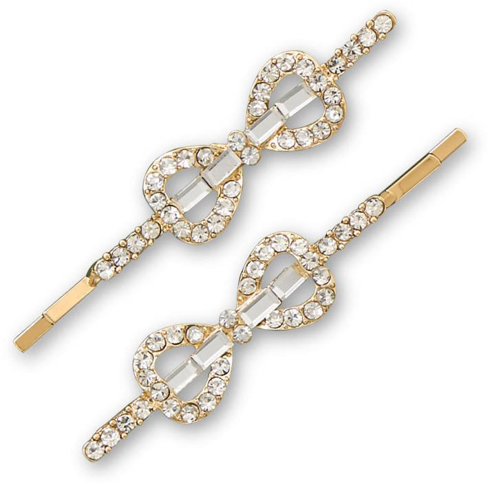 Set of Two Gold Tone Crystal Bow Fashion Hairpins