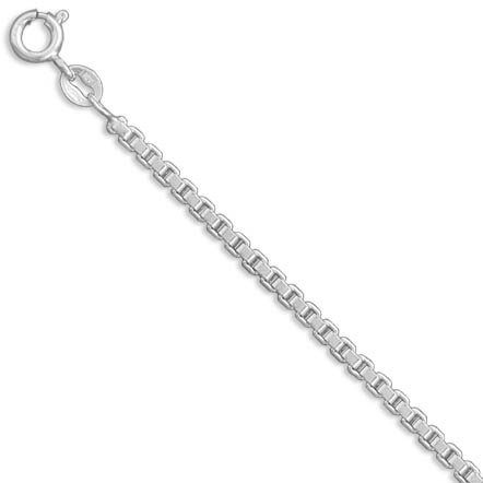 "16"" 045 Extra Heavy Box Chain Necklace (2.4mm / 0.09"") 925 Sterling Silver"