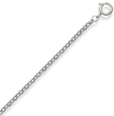 "24"" Rhodium Plated Cable Pendant Chain (1.9mm / 0.07"") 925 Sterling Silver"