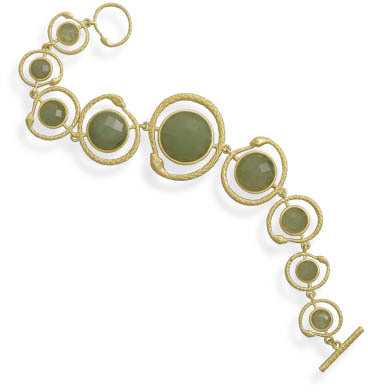 "7.75"" Gold Plated Aventurine Snake Design Toggle Bracelet 925 Sterling Silver"