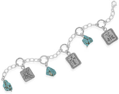 "7"" Turquoise and Multicharm Bracelet 925 Sterling Silver - DISCONTINUED"