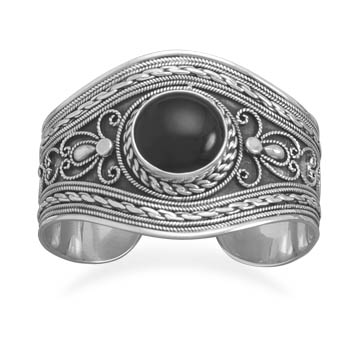 Ornate Cuff Bracelet with Black Onyx 925 Sterling Silver - DISCONTINUED