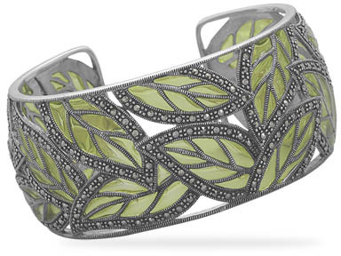Marcasite and Green Epoxy Cuff Bracelet 925 Sterling Silver - DISCONTINUED