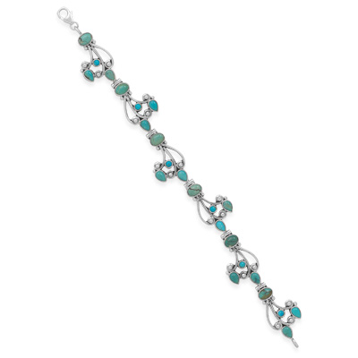"8"" Multishape Turquoise Bracelet 925 Sterling Silver - DISCONTINUED"