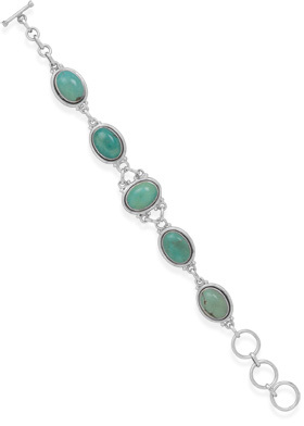 "7"" + 1"" Oval Turquoise Bracelet 925 Sterling Silver - DISCONTINUED"