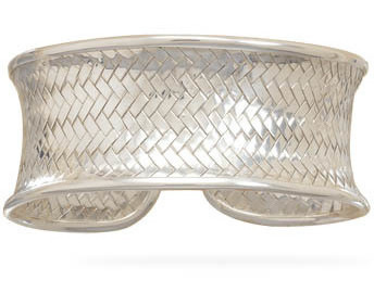 Concave Woven Cuff Bracelet 925 Sterling Silver