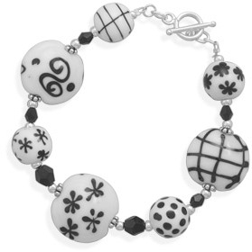 "7.75"" Lampwork Bead and Czech Crystal Bracelet 925 Sterling Silver"