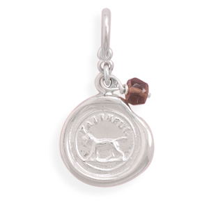Faithful Dog Charm with Smoky Quartz Bead 925 Sterling Silver