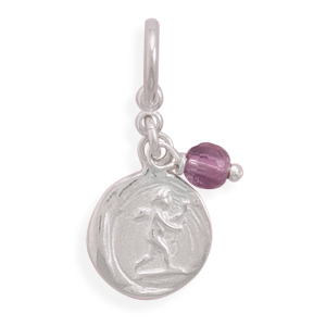 Cupid Tag Charm with Amethyst Bead 925 Sterling Silver