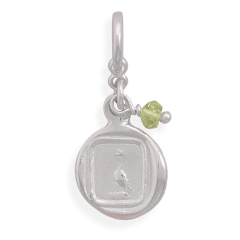 Dove Charm with Peridot Bead Charm 925 Sterling Silver