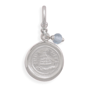 Such is Life Ship and Blue Topaz Charm 925 Sterling Silver