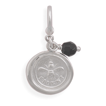 Bee Silent Charm with Black Onyx Bead 925 Sterling Silver