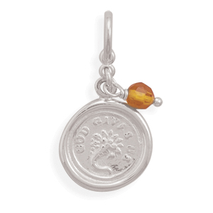 God Give Us Charm with Amber Bead 925 Sterling Silver
