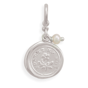 Forget Me Not Charm with Cultured Freshwater Pearl 925 Sterling Silver