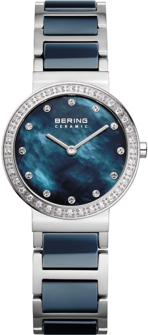 Bering Time - Ceramic - Ladies Silver Plated & Blue Ceramic Watch Genuine Swarovski Crystals (Womens) 10729-707