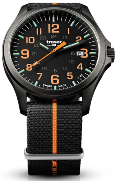 Traser Tritium Watch - Novelties Collection - P67 Officer Pro Gunmetal Black/Orange w/ Nylon Strap - 107425