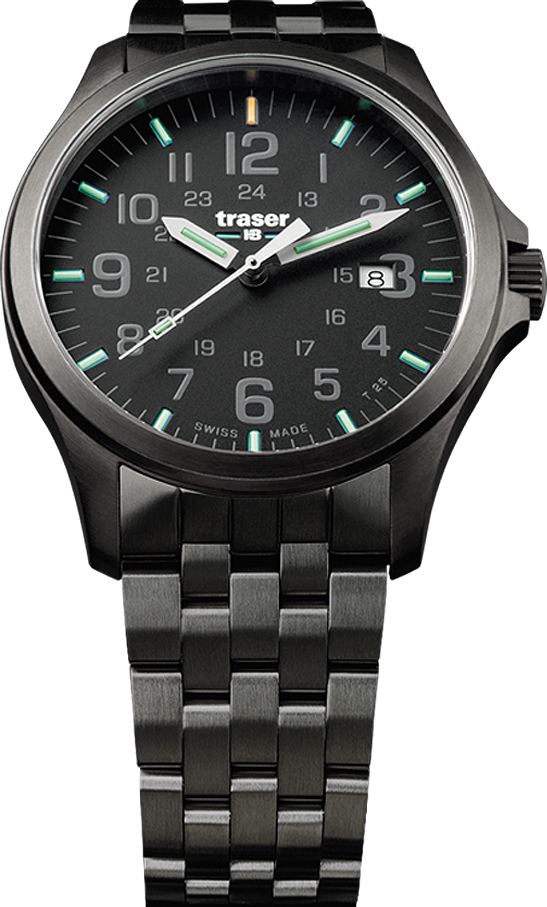 Traser Tritium Watch - Novelties Collection - P67 Officer Pro Gunmetal Black w/ PVD Stainless Steel Black Bracelet - 107868