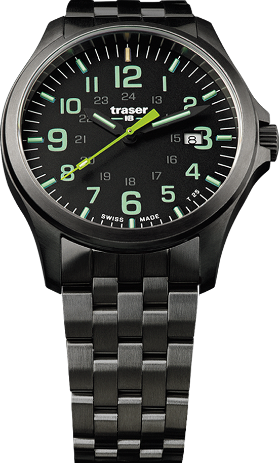 Traser Tritium Watch - Novelties Collection - P67 Officer Pro Gunmetal Black/Lime w/ PVD Stainless Steel Black Bracelet - 107869