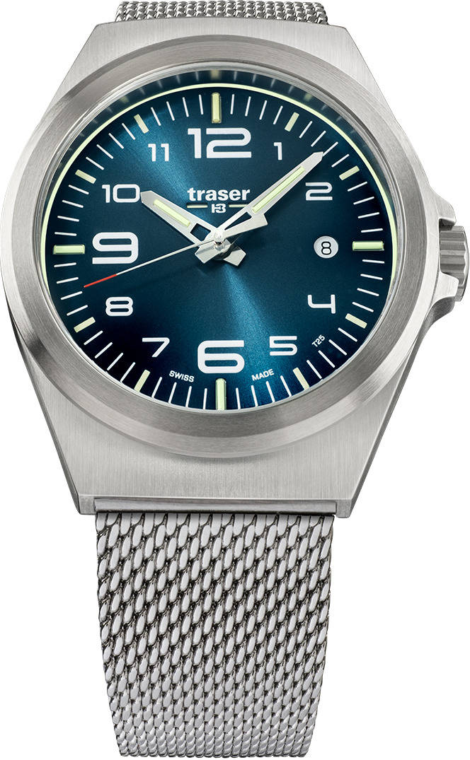 Traser Tritium Watch - P59 Essential M Blue w/ Milanese Stainless Steel Band - 108205