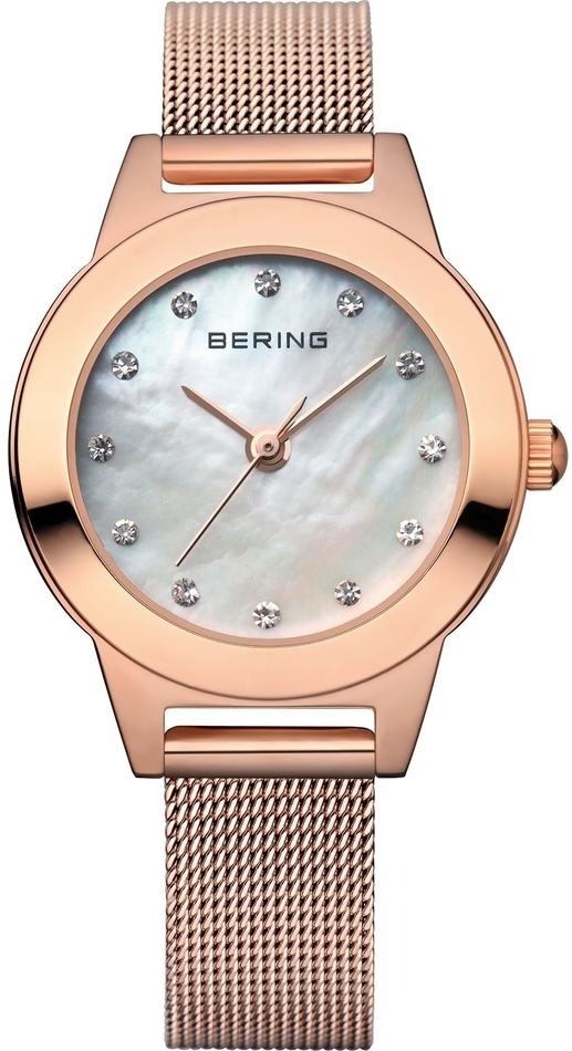 Bering Time - Classic - Ladies Rose Gold Milanese Mesh Watch w/ Swarovski Crystals (Womens) 11125-366