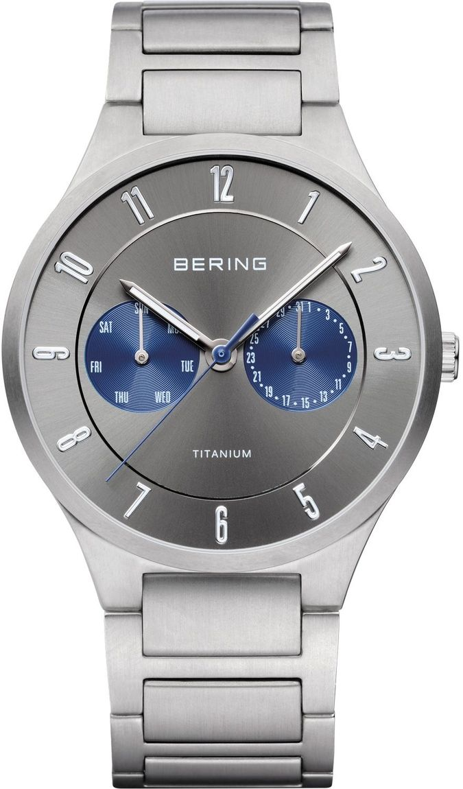 Bering Time - Titanium - Mens Silver Plated Watch Multifunction Day/Date (Mens) 11539-777