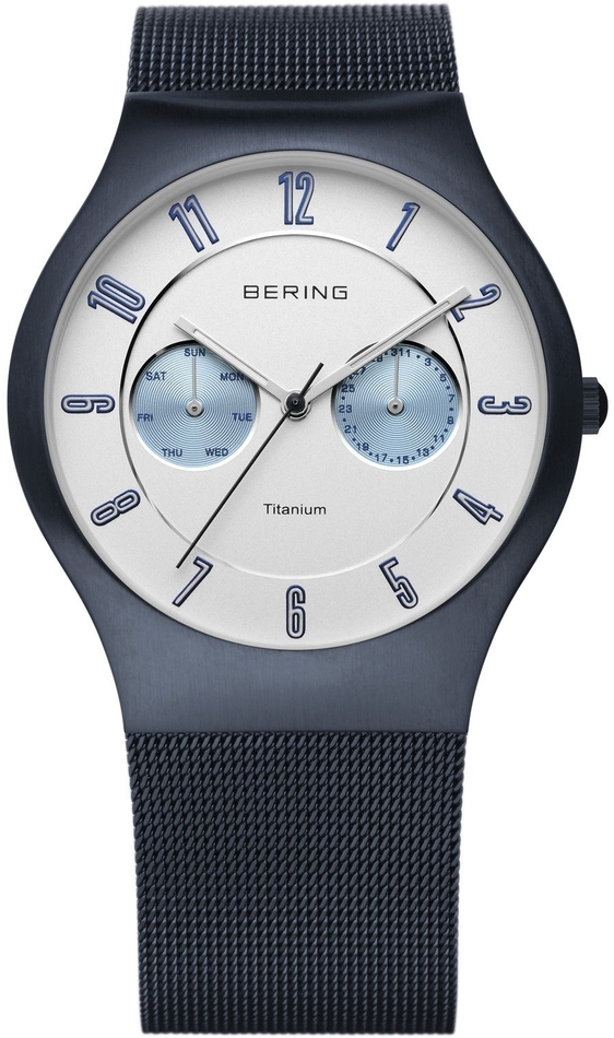 Bering Time - Titanium Case - Mens Blue & White Milanese Mesh Multifunction Watch 11939-394 - DISCONTINUED