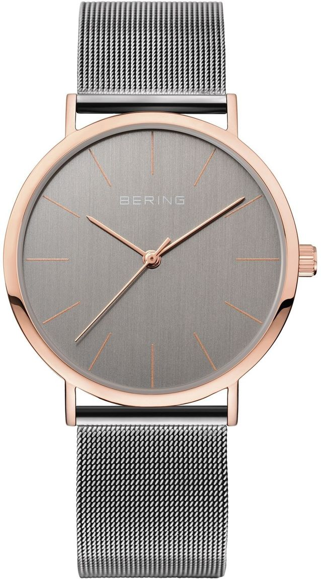 Bering Time - Classic - Unisex Grey & Rose Gold Milanese Mesh Watch 13436-369